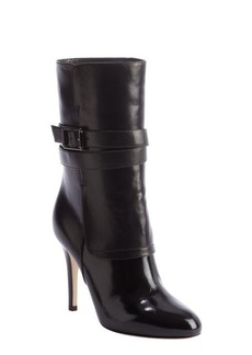 Jimmy Choo black shined and smooth leather wraparound bucklestrap heel boots