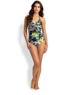 Etro One-Piece Floral-Print Halter Swimsuit