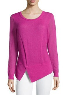 Lafayette 148 New York Aerial Long-Sleeve Cutaway Wool-Knit Sweater, Gladiola