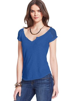 Lucky Brand Mesh Buttoned Top