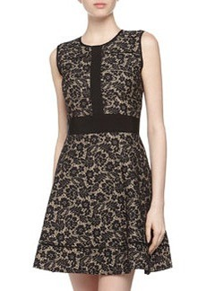 Nicole Miller Sleeveless Paneled Lace Dress, Black/Nude