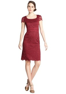 A.B.S. by Allen Schwartz burgundy stretch lace piping cap sleeve dress