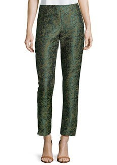 Lafayette 148 New York Slim Cropped Jacquard Pants, Mallard Multi
