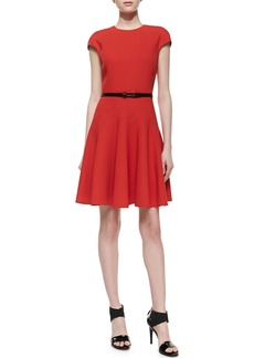 Jason Wu Belted Flounce Dress, Red