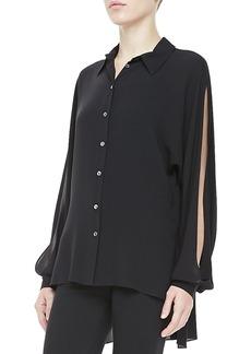 Michael Kors Silk Georgette Slit Long-Sleeve Top