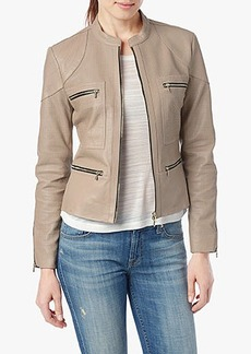 Perforated Leather Jacket in Blush Pink