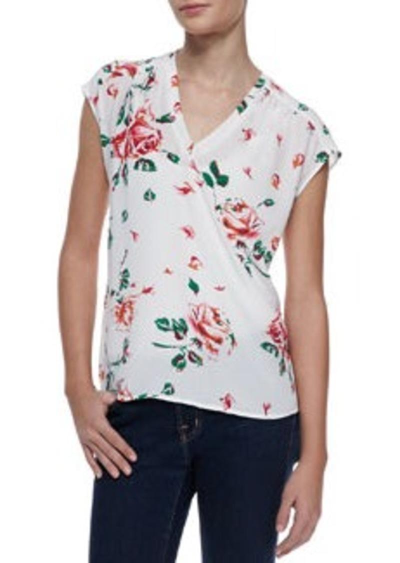 Topshop Long Sleeve Rose Print Blouse 5
