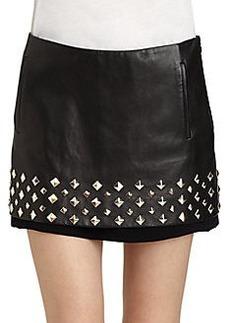 Diane von Furstenberg Elley Studded Leather Mini Skirt