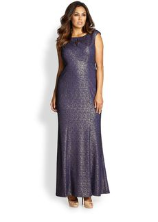 Kay Unger, Sizes 14-24 Metallic Lace Gown