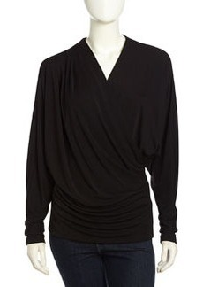 Nicole Miller Long-Sleeve Draped Stretch-Knit Tee, Black