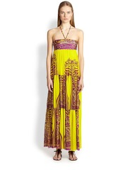 Jean Paul Gaultier Printed Tiered Halter Maxi Dress