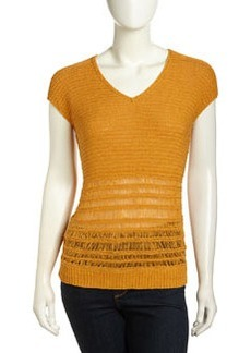 Lafayette 148 New York Drop Needle-Stripe Staccato Sweater, Amber