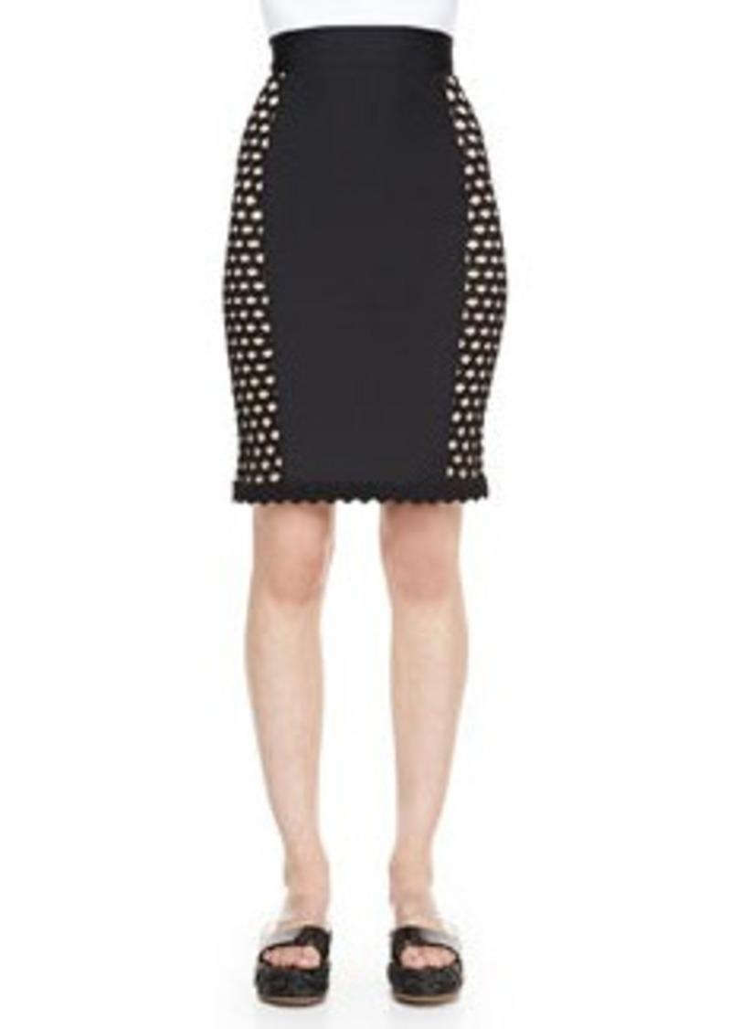 Side-Crochet Fitted Skirt, Black   Side-Crochet Fitted Skirt, Black