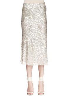 Jason Wu Sequined Bias-Cut Midi Skirt, Beige