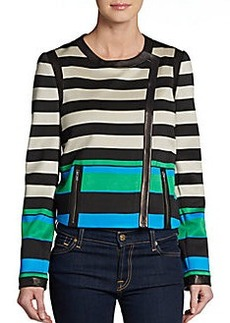 Diane von Furstenberg Esther Striped Leather-Trim Jacket