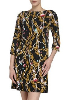 Isaac Mizrahi Print Jersey Bell-Sleeve Dress, Black & Pink