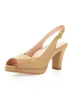 Taryn Rose Ernestine Peep-Toe Platform Sandal, Natural