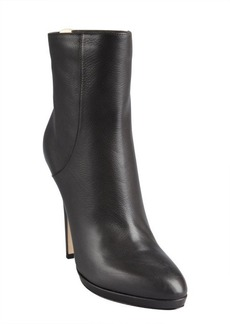 Jimmy Choo smoky grey grained leather heel zip 'Gracie' ankle boots