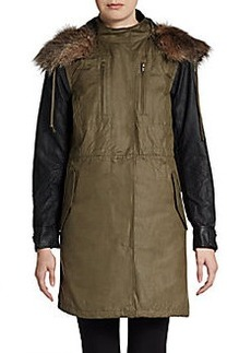 French Connection Military Parade Faux-Fur Trimmed Jacket