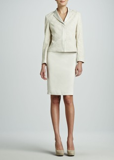 Albert Nipon Lace Jacket Skirt Suit