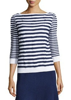St. John Striped Cable-Knit Sweater, Ink/White