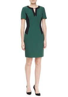 JASON WU Short Sleeve Colorblock Locket Dress, Emerald/Green