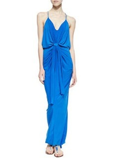 T Bags Draped Knot-Front Maxi Dress