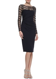 David Meister Long-Sleeve Embroidered Cocktail Dress