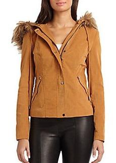 Robert Rodriguez Corduroy Faux Fur-Trimmed Hooded Jacket