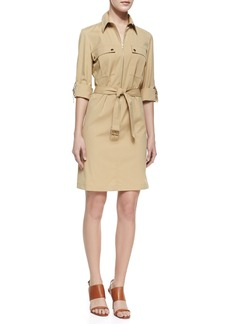 Michael Kors Belted Zip Poplin Shirtdress, Beige