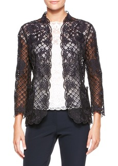 Escada Silk Lace Long-Sleeve Jacket, Black