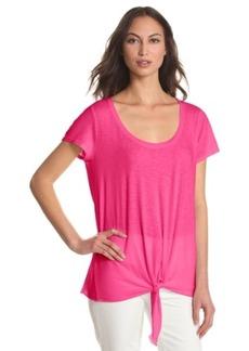 Michael Stars Women's Short Sleeve Scoop Neck T-Shirt with Tie Hem