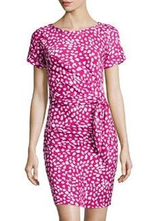 Diane von Furstenberg Leron Leopard Leaves-Print Draped Dress, Pink Dhalia