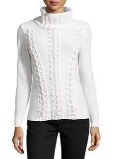 Lafayette 148 New York Cashmere Looped Cable-Knit Turtleneck Sweater, Cloud