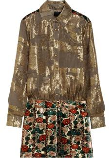 Anna Sui Metallic chiffon-jacquard and burnout velvet dress