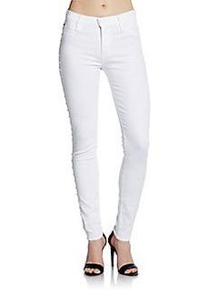 Hudson Studded Midrise Super Skinny Jeans