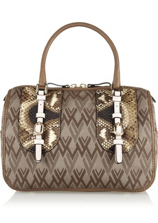 Valentino Python and leather-trimmed canvas tote