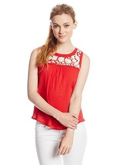 Lucky Brand Women's Red Embroidered Tank