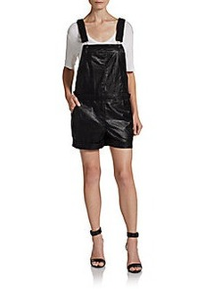 Saks Fifth Avenue RED Faux Leather Overall Shorts