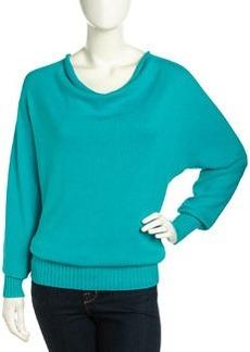 Lafayette 148 New York Cowl-Neck Draped Knit Sweater, Blue Topaz