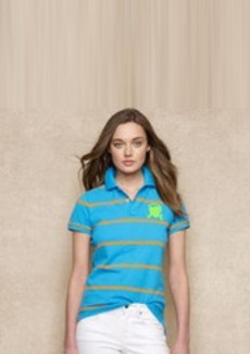 Skinny Striped Monogram Polo