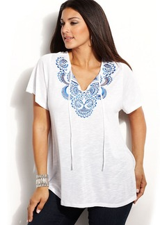 INC International Concepts Plus Size Embroidered Short-Sleeve Peasant Top