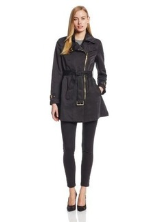 Kenneth Cole New York Women's Asymmetrical Front-Zip Belted Trench Coat