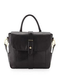 Etienne Aigner Marker Smooth Napa Leather Flap Shoulder/Tote Handle Bag, Black