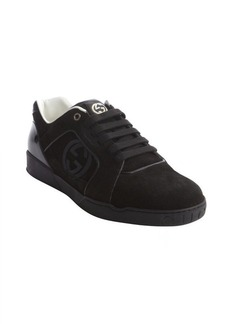 Gucci black suede interlocking G lace-up sneakers