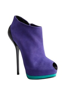 Giuseppe Zanotti violet, teal and black suede peep toe platform booties