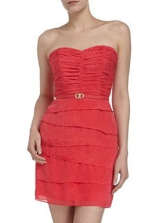 Laundry by Shelli Segal Strapless Chiffon Zigzag Skirt Dress, Geranium
