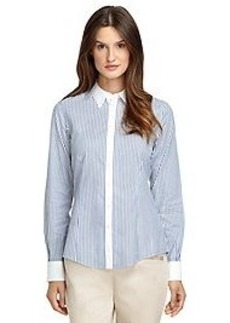 Non-Iron Tailored Fit Thin Stripe Dress Shirt