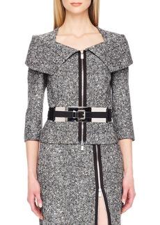 Michael Kors Zip-Front Tweed Jacket