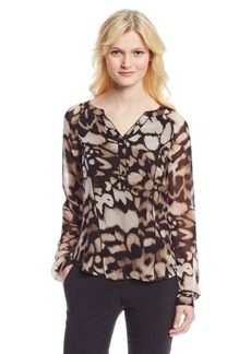 Calvin Klein Women's Printed Blouse With Piping